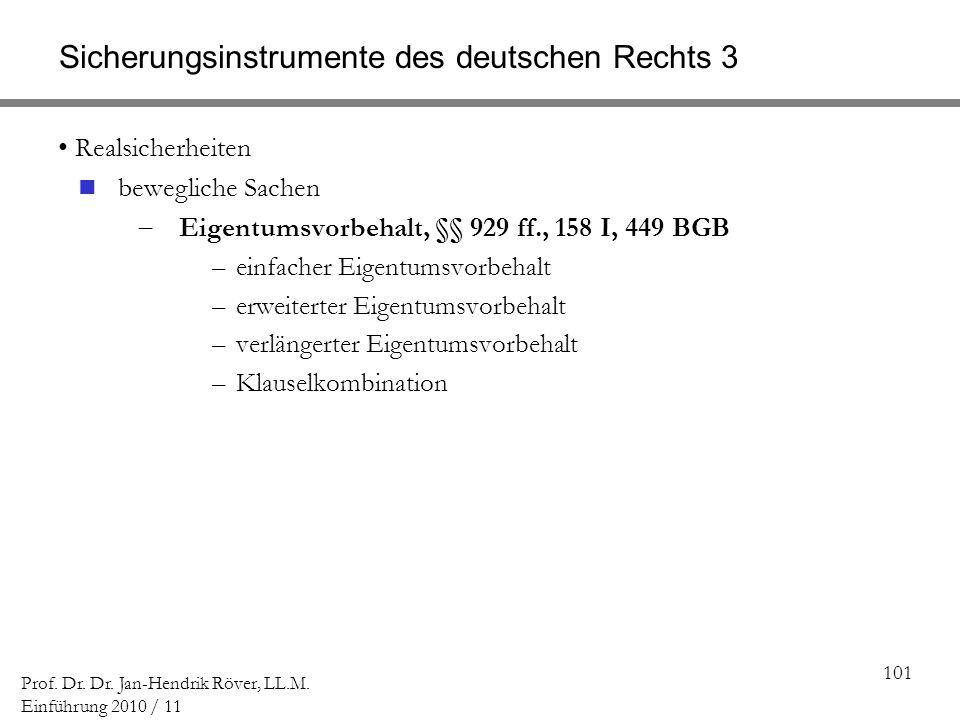 101 Prof. Dr. Dr. Jan-Hendrik Röver, LL.M. Einführung 2010 / 11 Sicherungsinstrumente des deutschen Rechts 3 Realsicherheiten bewegliche Sachen Eigent