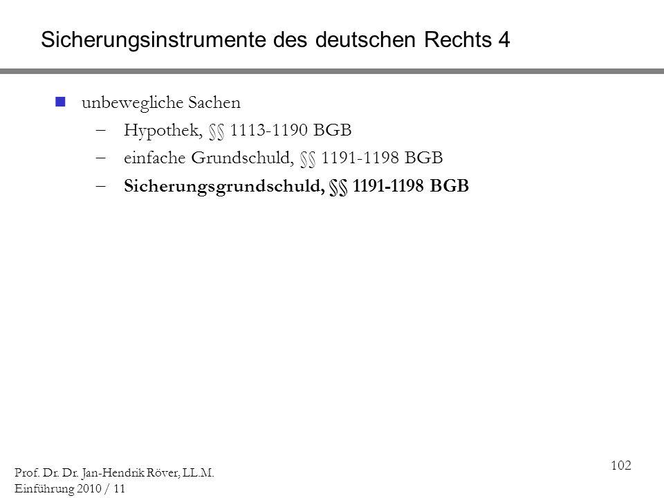 102 Prof. Dr. Dr. Jan-Hendrik Röver, LL.M. Einführung 2010 / 11 Sicherungsinstrumente des deutschen Rechts 4 unbewegliche Sachen Hypothek, §§ 1113-119