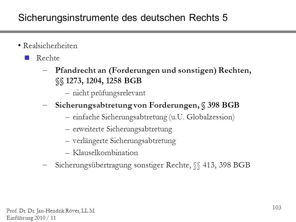 103 Prof. Dr. Dr. Jan-Hendrik Röver, LL.M. Einführung 2010 / 11 Sicherungsinstrumente des deutschen Rechts 5 Realsicherheiten Rechte Pfandrecht an (Fo