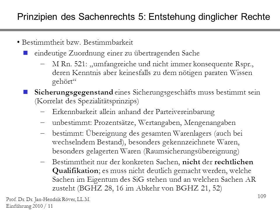 109 Prof. Dr. Dr. Jan-Hendrik Röver, LL.M. Einführung 2010 / 11 Prinzipien des Sachenrechts 5: Entstehung dinglicher Rechte Bestimmtheit bzw. Bestimmb