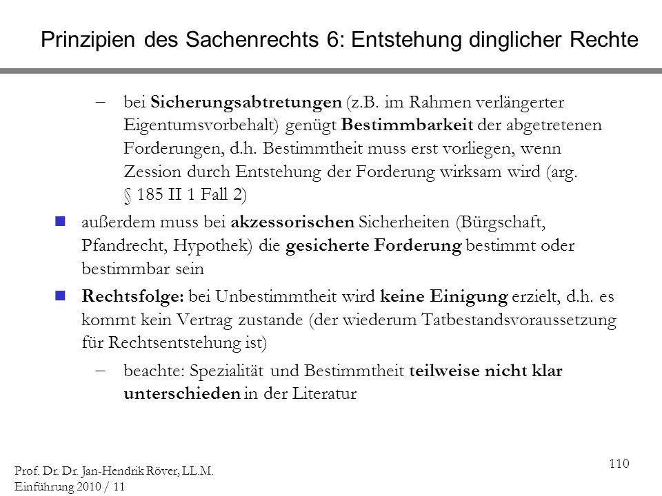110 Prof. Dr. Dr. Jan-Hendrik Röver, LL.M. Einführung 2010 / 11 Prinzipien des Sachenrechts 6: Entstehung dinglicher Rechte bei Sicherungsabtretungen