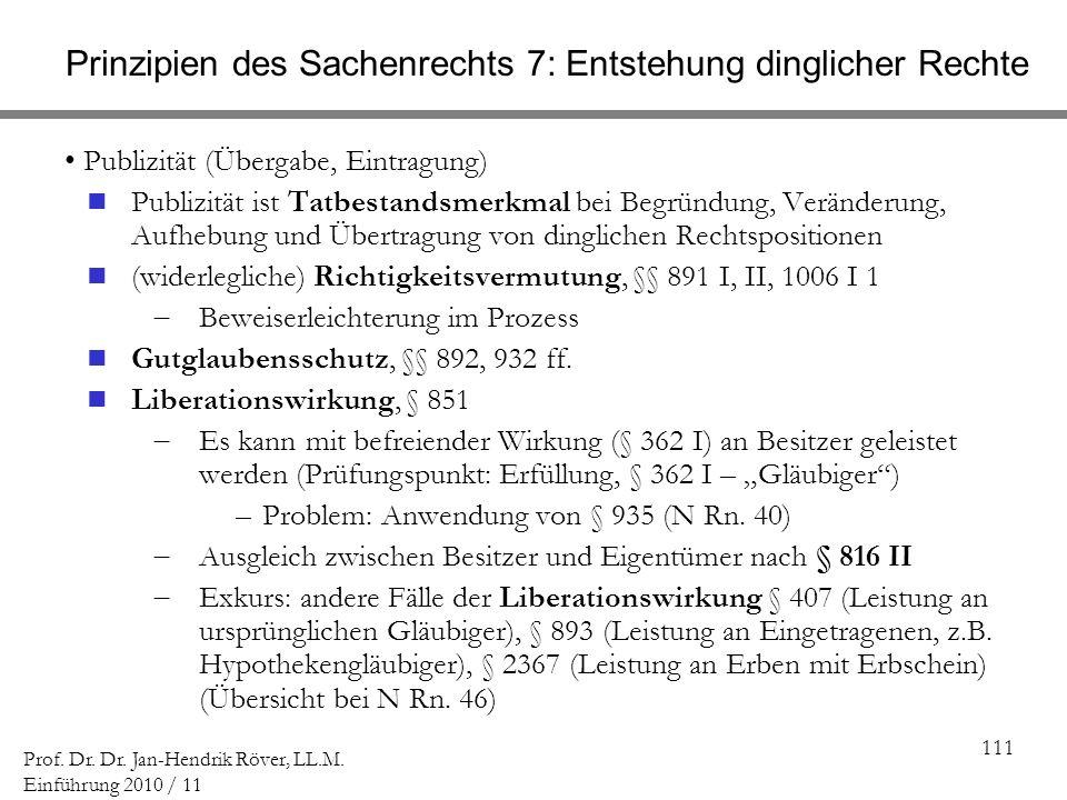 111 Prof. Dr. Dr. Jan-Hendrik Röver, LL.M. Einführung 2010 / 11 Prinzipien des Sachenrechts 7: Entstehung dinglicher Rechte Publizität (Übergabe, Eint