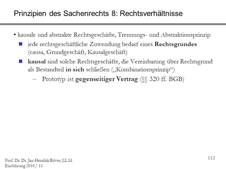 112 Prof. Dr. Dr. Jan-Hendrik Röver, LL.M. Einführung 2010 / 11 Prinzipien des Sachenrechts 8: Rechtsverhältnisse kausale und abstrakte Rechtsgeschäft
