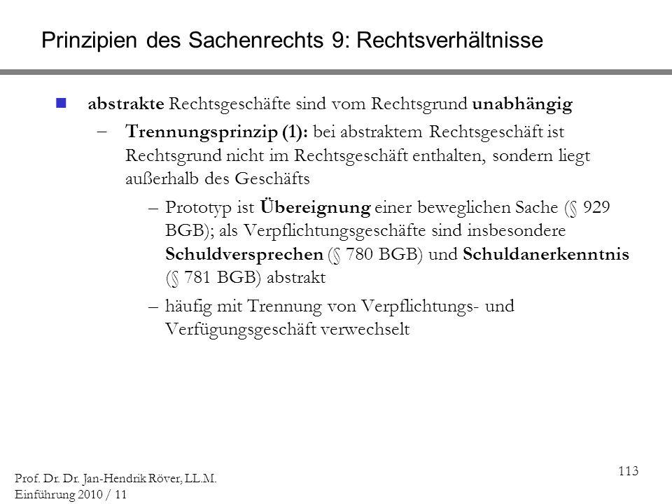 113 Prof. Dr. Dr. Jan-Hendrik Röver, LL.M. Einführung 2010 / 11 Prinzipien des Sachenrechts 9: Rechtsverhältnisse abstrakte Rechtsgeschäfte sind vom R
