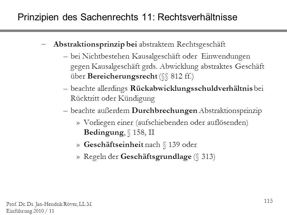 115 Prof. Dr. Dr. Jan-Hendrik Röver, LL.M. Einführung 2010 / 11 Prinzipien des Sachenrechts 11: Rechtsverhältnisse Abstraktionsprinzip bei abstraktem