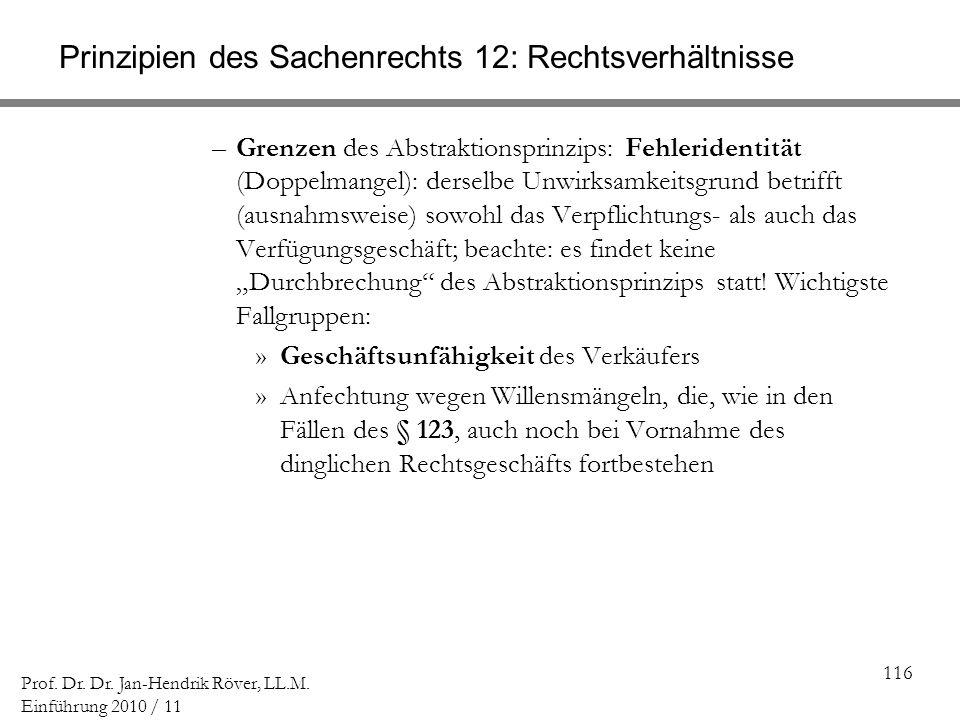 116 Prof. Dr. Dr. Jan-Hendrik Röver, LL.M. Einführung 2010 / 11 Prinzipien des Sachenrechts 12: Rechtsverhältnisse –Grenzen des Abstraktionsprinzips: