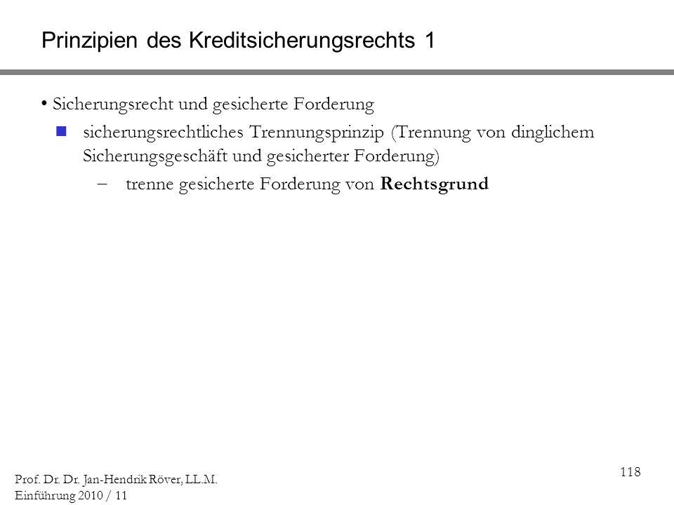 118 Prof. Dr. Dr. Jan-Hendrik Röver, LL.M. Einführung 2010 / 11 Prinzipien des Kreditsicherungsrechts 1 Sicherungsrecht und gesicherte Forderung siche