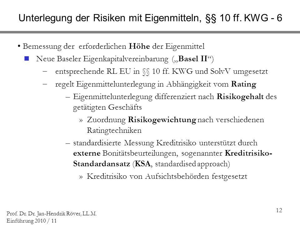 12 Prof. Dr. Dr. Jan-Hendrik Röver, LL.M. Einführung 2010 / 11 Unterlegung der Risiken mit Eigenmitteln, §§ 10 ff. KWG - 6 Bemessung der erforderliche