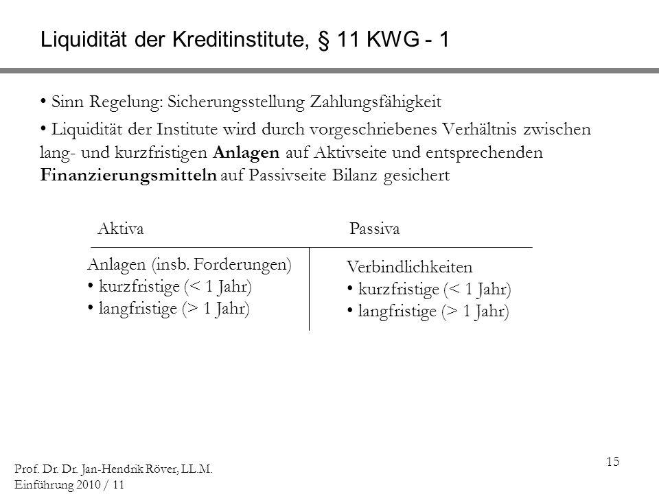 15 Prof. Dr. Dr. Jan-Hendrik Röver, LL.M. Einführung 2010 / 11 Liquidität der Kreditinstitute, § 11 KWG - 1 Sinn Regelung: Sicherungsstellung Zahlungs