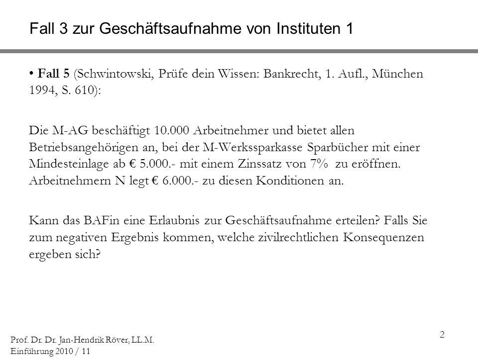2 Prof. Dr. Dr. Jan-Hendrik Röver, LL.M. Einführung 2010 / 11 Fall 3 zur Geschäftsaufnahme von Instituten 1 Fall 5 (Schwintowski, Prüfe dein Wissen: B
