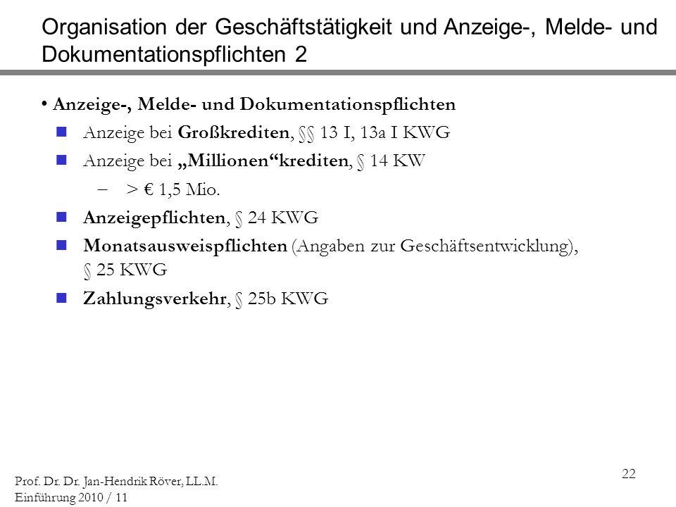 22 Prof. Dr. Dr. Jan-Hendrik Röver, LL.M. Einführung 2010 / 11 Organisation der Geschäftstätigkeit und Anzeige-, Melde- und Dokumentationspflichten 2