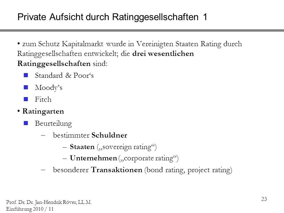 23 Prof. Dr. Dr. Jan-Hendrik Röver, LL.M. Einführung 2010 / 11 Private Aufsicht durch Ratinggesellschaften 1 zum Schutz Kapitalmarkt wurde in Vereinig