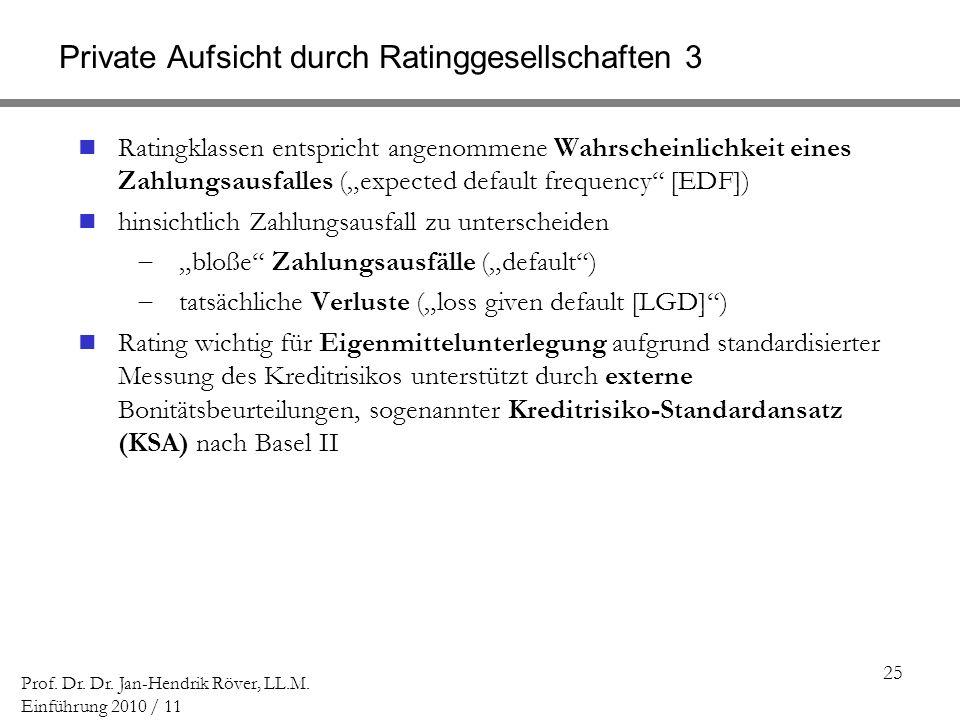 25 Prof. Dr. Dr. Jan-Hendrik Röver, LL.M. Einführung 2010 / 11 Private Aufsicht durch Ratinggesellschaften 3 Ratingklassen entspricht angenommene Wahr
