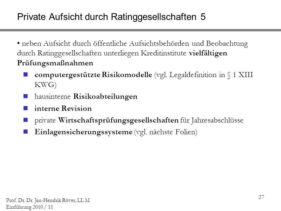 27 Prof. Dr. Dr. Jan-Hendrik Röver, LL.M. Einführung 2010 / 11 Private Aufsicht durch Ratinggesellschaften 5 neben Aufsicht durch öffentliche Aufsicht