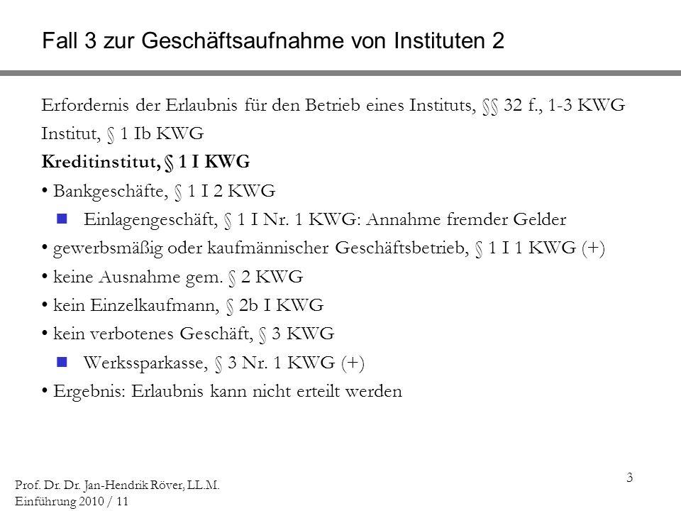 3 Prof. Dr. Dr. Jan-Hendrik Röver, LL.M. Einführung 2010 / 11 Fall 3 zur Geschäftsaufnahme von Instituten 2 Erfordernis der Erlaubnis für den Betrieb