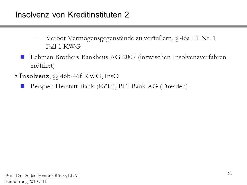 31 Prof. Dr. Dr. Jan-Hendrik Röver, LL.M. Einführung 2010 / 11 Insolvenz von Kreditinstituten 2 Verbot Vermögensgegenstände zu veräußern, § 46a I 1 Nr