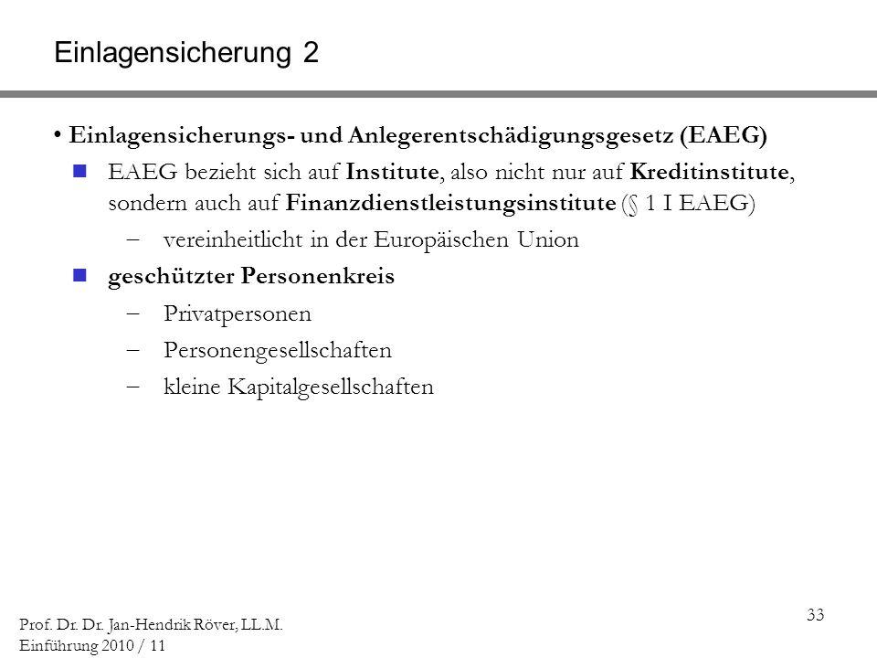 33 Prof. Dr. Dr. Jan-Hendrik Röver, LL.M. Einführung 2010 / 11 Einlagensicherung 2 Einlagensicherungs- und Anlegerentschädigungsgesetz (EAEG) EAEG bez