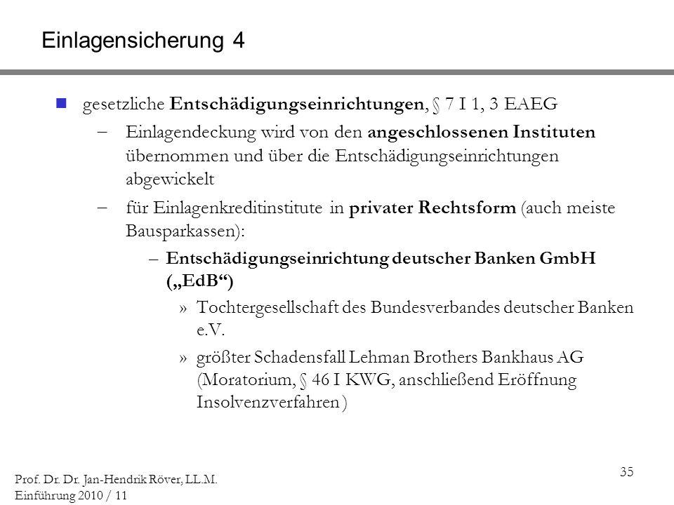 35 Prof. Dr. Dr. Jan-Hendrik Röver, LL.M. Einführung 2010 / 11 Einlagensicherung 4 gesetzliche Entschädigungseinrichtungen, § 7 I 1, 3 EAEG Einlagende