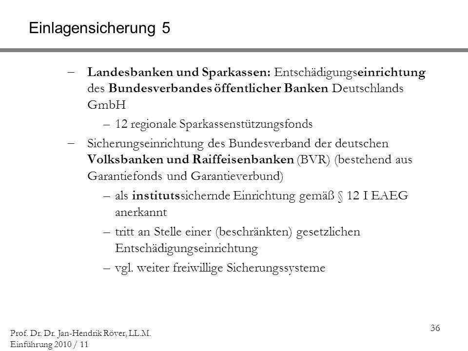 36 Prof. Dr. Dr. Jan-Hendrik Röver, LL.M. Einführung 2010 / 11 Einlagensicherung 5 Landesbanken und Sparkassen: Entschädigungseinrichtung des Bundesve