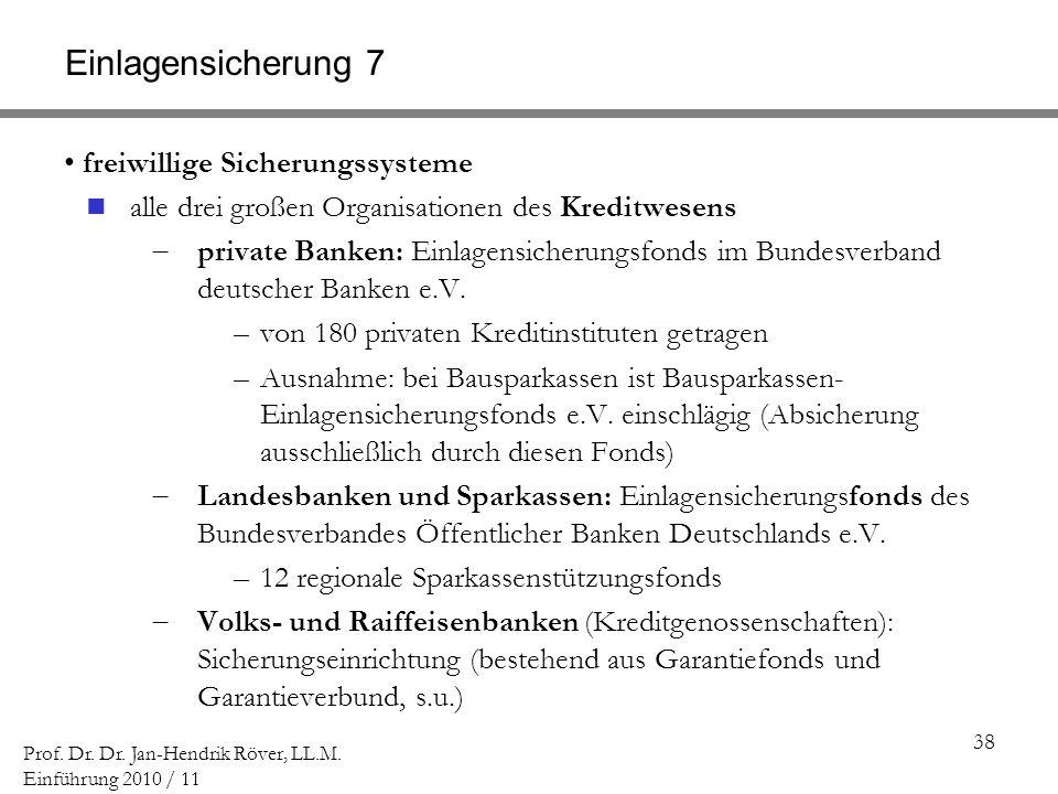 38 Prof. Dr. Dr. Jan-Hendrik Röver, LL.M. Einführung 2010 / 11 Einlagensicherung 7 freiwillige Sicherungssysteme alle drei großen Organisationen des K