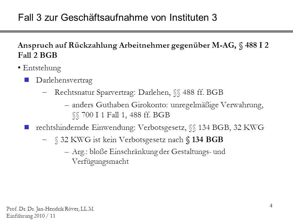 4 Prof. Dr. Dr. Jan-Hendrik Röver, LL.M. Einführung 2010 / 11 Fall 3 zur Geschäftsaufnahme von Instituten 3 Anspruch auf Rückzahlung Arbeitnehmer gege