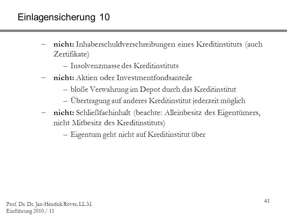 41 Prof. Dr. Dr. Jan-Hendrik Röver, LL.M. Einführung 2010 / 11 Einlagensicherung 10 nicht: Inhaberschuldverschreibungen eines Kreditinstituts (auch Ze