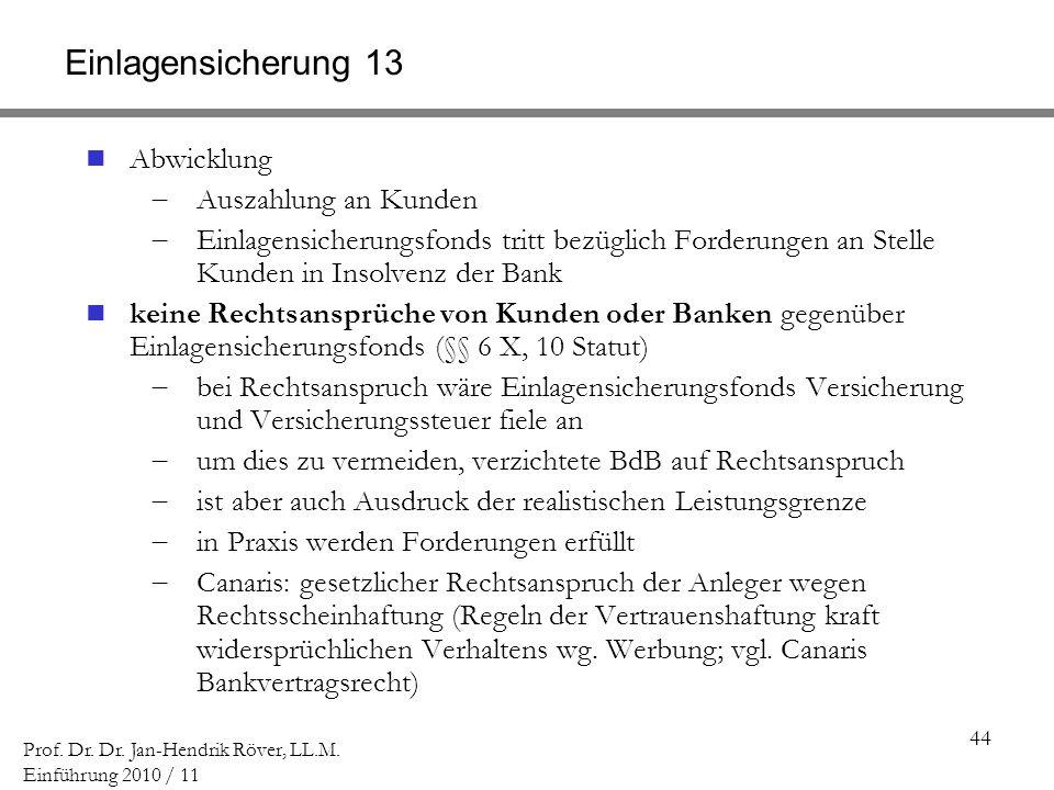 44 Prof. Dr. Dr. Jan-Hendrik Röver, LL.M. Einführung 2010 / 11 Einlagensicherung 13 Abwicklung Auszahlung an Kunden Einlagensicherungsfonds tritt bezü
