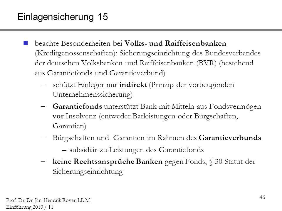 46 Prof. Dr. Dr. Jan-Hendrik Röver, LL.M. Einführung 2010 / 11 Einlagensicherung 15 beachte Besonderheiten bei Volks- und Raiffeisenbanken (Kreditgeno