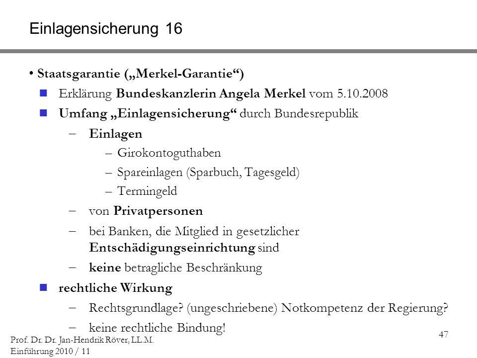 47 Prof. Dr. Dr. Jan-Hendrik Röver, LL.M. Einführung 2010 / 11 Einlagensicherung 16 Staatsgarantie (Merkel-Garantie) Erklärung Bundeskanzlerin Angela