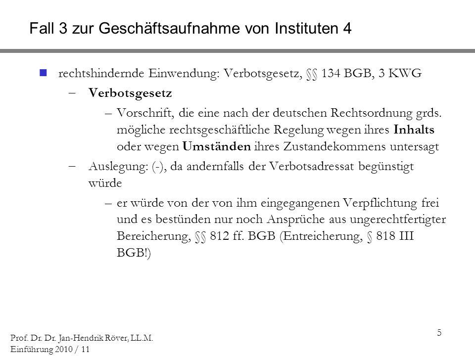 5 Prof. Dr. Dr. Jan-Hendrik Röver, LL.M. Einführung 2010 / 11 Fall 3 zur Geschäftsaufnahme von Instituten 4 rechtshindernde Einwendung: Verbotsgesetz,