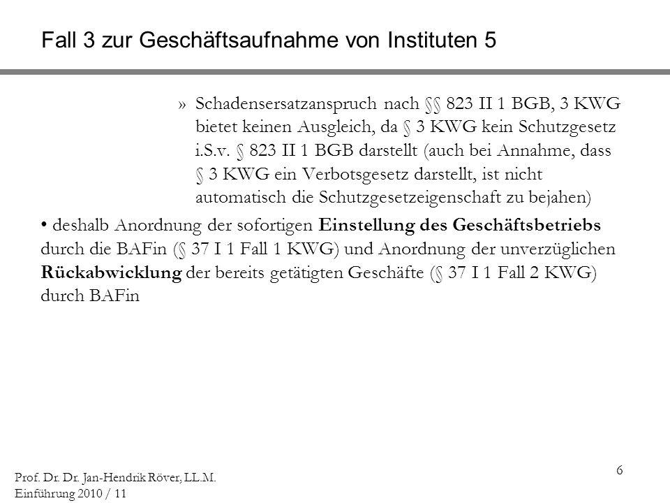 6 Prof. Dr. Dr. Jan-Hendrik Röver, LL.M. Einführung 2010 / 11 Fall 3 zur Geschäftsaufnahme von Instituten 5 »Schadensersatzanspruch nach §§ 823 II 1 B