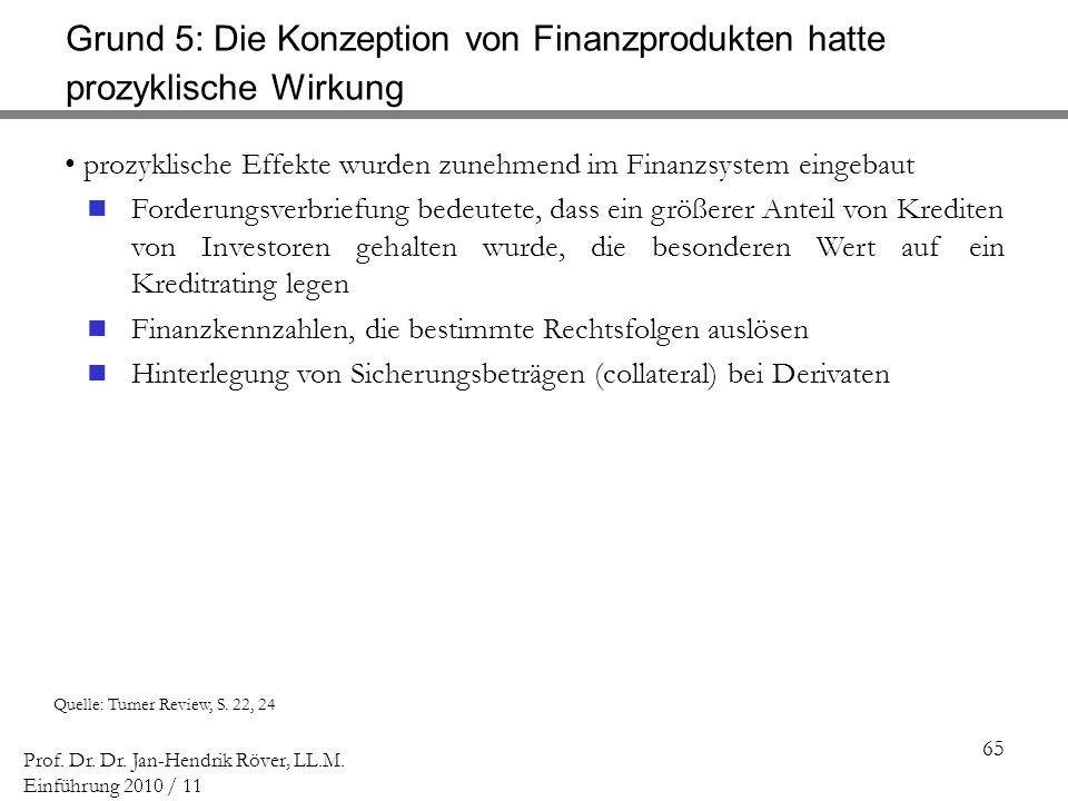65 Prof. Dr. Dr. Jan-Hendrik Röver, LL.M. Einführung 2010 / 11 Quelle: Turner Review, S. 22, 24 prozyklische Effekte wurden zunehmend im Finanzsystem