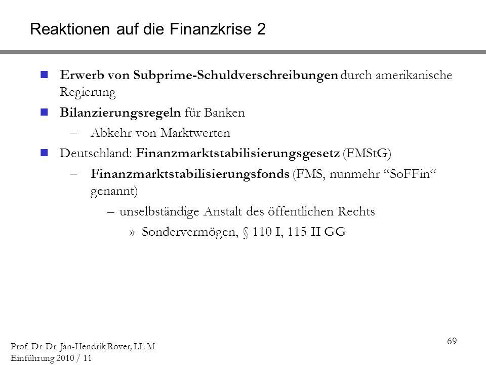 69 Prof. Dr. Dr. Jan-Hendrik Röver, LL.M. Einführung 2010 / 11 Reaktionen auf die Finanzkrise 2 Erwerb von Subprime-Schuldverschreibungen durch amerik