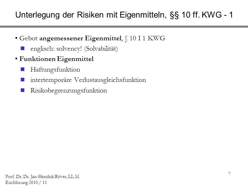 7 Prof. Dr. Dr. Jan-Hendrik Röver, LL.M. Einführung 2010 / 11 Unterlegung der Risiken mit Eigenmitteln, §§ 10 ff. KWG - 1 Gebot angemessener Eigenmitt