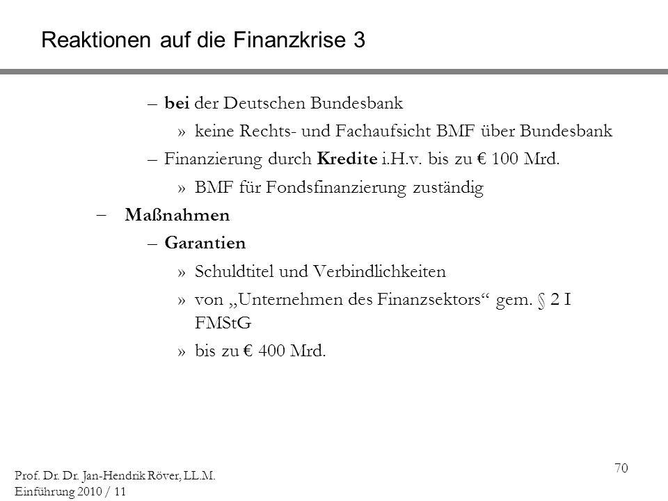 70 Prof. Dr. Dr. Jan-Hendrik Röver, LL.M. Einführung 2010 / 11 Reaktionen auf die Finanzkrise 3 –bei der Deutschen Bundesbank »keine Rechts- und Facha