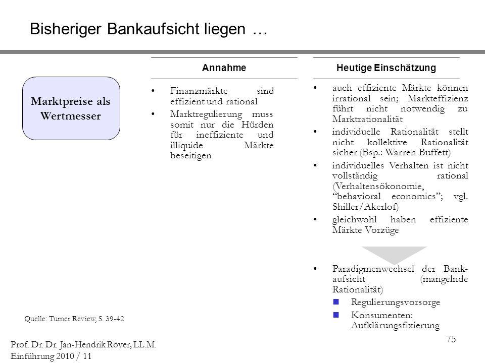 75 Prof. Dr. Dr. Jan-Hendrik Röver, LL.M. Einführung 2010 / 11 Quelle: Turner Review, S. 39-42 Marktpreise als Wertmesser AnnahmeHeutige Einschätzung