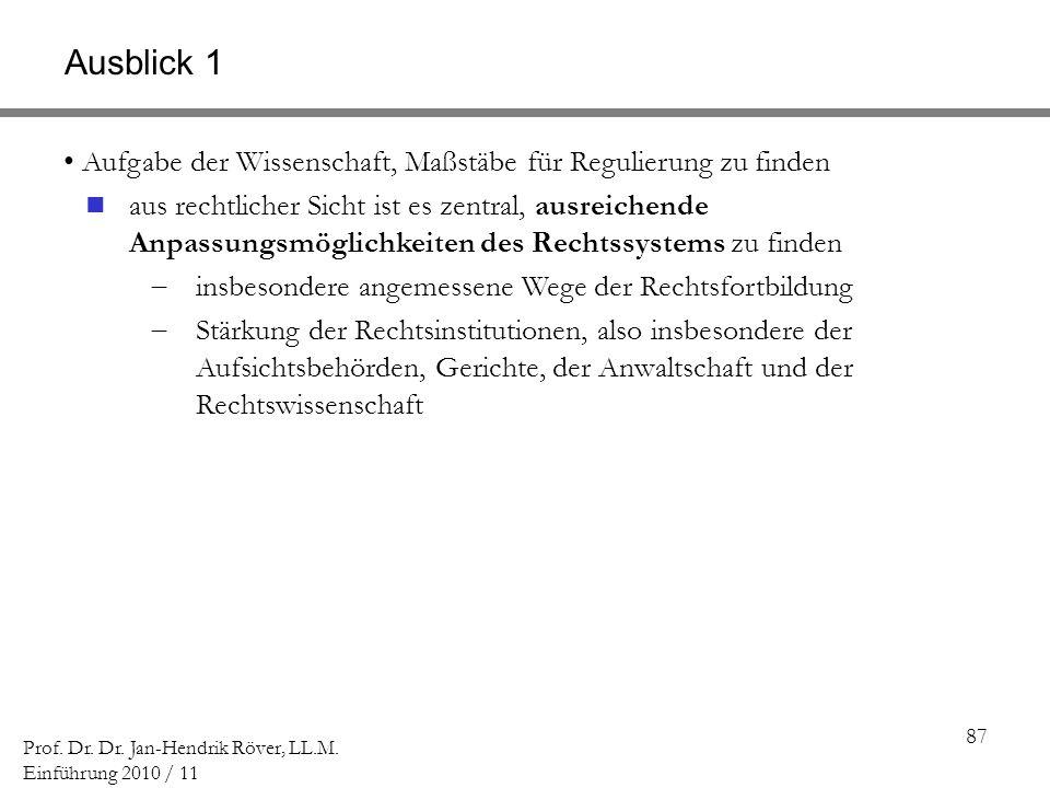 87 Prof. Dr. Dr. Jan-Hendrik Röver, LL.M. Einführung 2010 / 11 Aufgabe der Wissenschaft, Maßstäbe für Regulierung zu finden aus rechtlicher Sicht ist