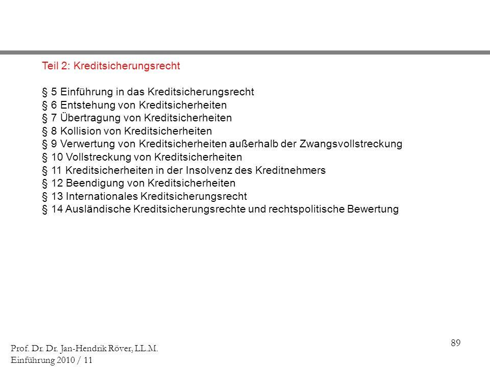 89 Prof. Dr. Dr. Jan-Hendrik Röver, LL.M. Einführung 2010 / 11 Teil 2: Kreditsicherungsrecht § 5 Einführung in das Kreditsicherungsrecht § 6 Entstehun