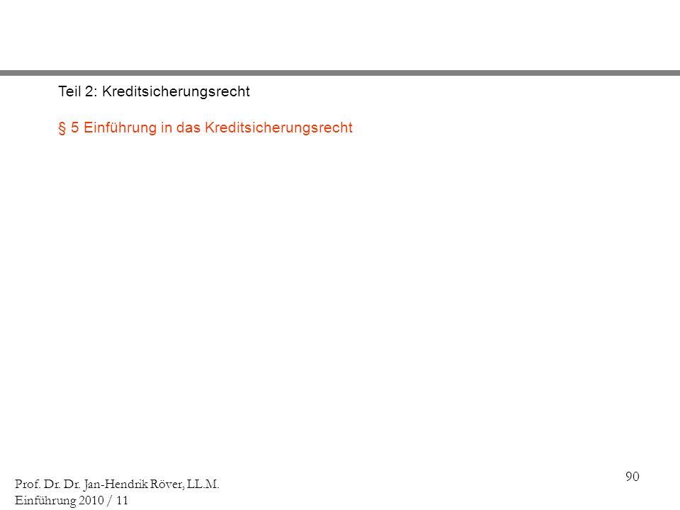 90 Prof. Dr. Dr. Jan-Hendrik Röver, LL.M. Einführung 2010 / 11 Teil 2: Kreditsicherungsrecht § 5 Einführung in das Kreditsicherungsrecht