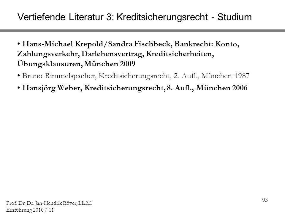 93 Prof. Dr. Dr. Jan-Hendrik Röver, LL.M. Einführung 2010 / 11 Vertiefende Literatur 3: Kreditsicherungsrecht - Studium Hans-Michael Krepold/Sandra Fi