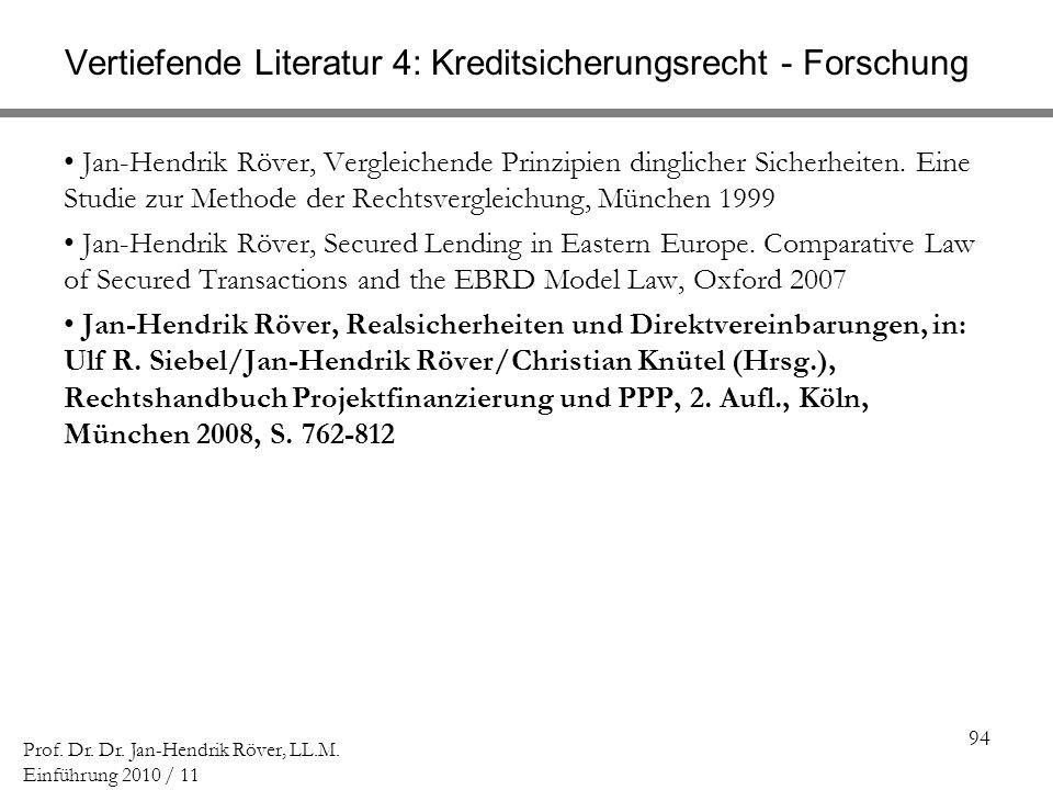 94 Prof. Dr. Dr. Jan-Hendrik Röver, LL.M. Einführung 2010 / 11 Vertiefende Literatur 4: Kreditsicherungsrecht - Forschung Jan-Hendrik Röver, Vergleich