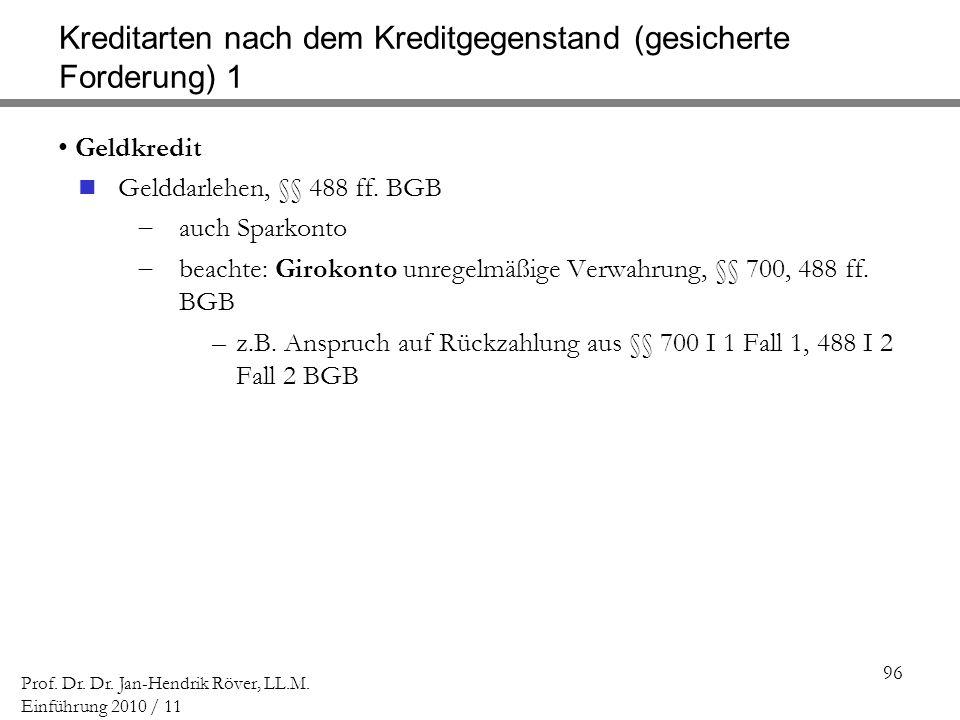 96 Prof. Dr. Dr. Jan-Hendrik Röver, LL.M. Einführung 2010 / 11 Kreditarten nach dem Kreditgegenstand (gesicherte Forderung) 1 Geldkredit Gelddarlehen,