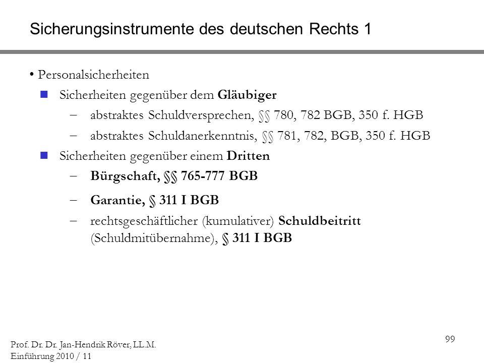 99 Prof. Dr. Dr. Jan-Hendrik Röver, LL.M. Einführung 2010 / 11 Sicherungsinstrumente des deutschen Rechts 1 Personalsicherheiten Sicherheiten gegenübe