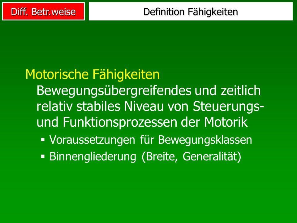 Diff. Betr.weise Definition Fähigkeiten Motorische Fähigkeiten Bewegungsübergreifendes und zeitlich relativ stabiles Niveau von Steuerungs- und Funkti