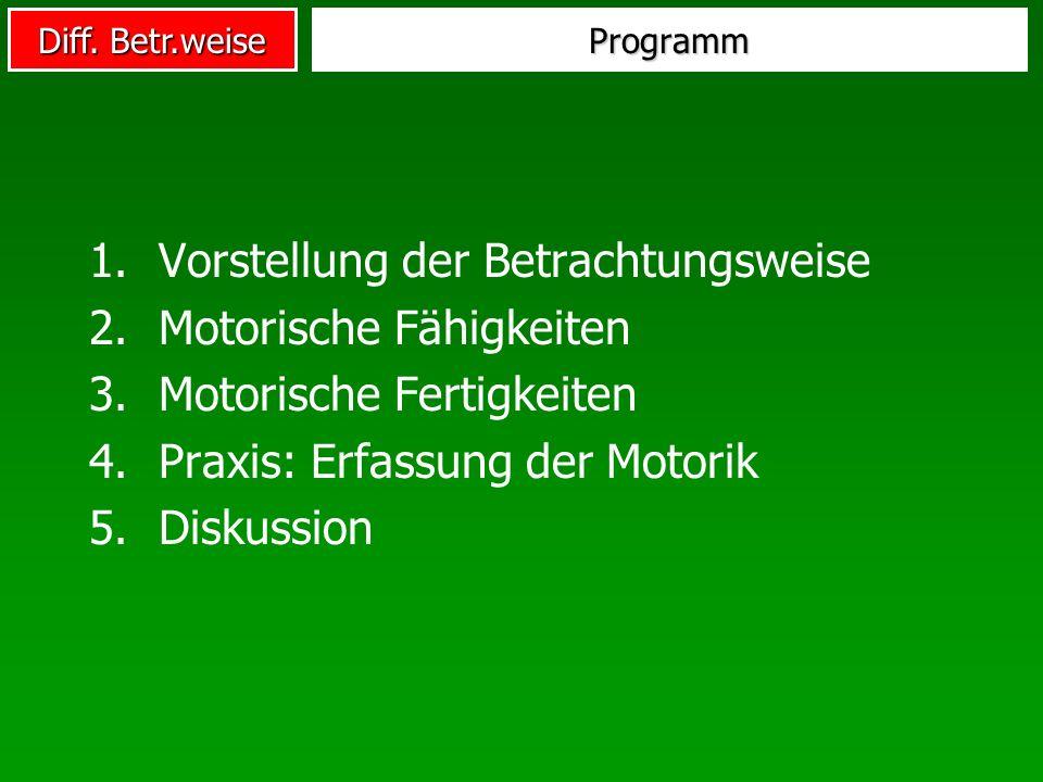 Diff. Betr.weise Programm 1.Vorstellung der Betrachtungsweise 2.Motorische Fähigkeiten 3.Motorische Fertigkeiten 4.Praxis: Erfassung der Motorik 5.Dis