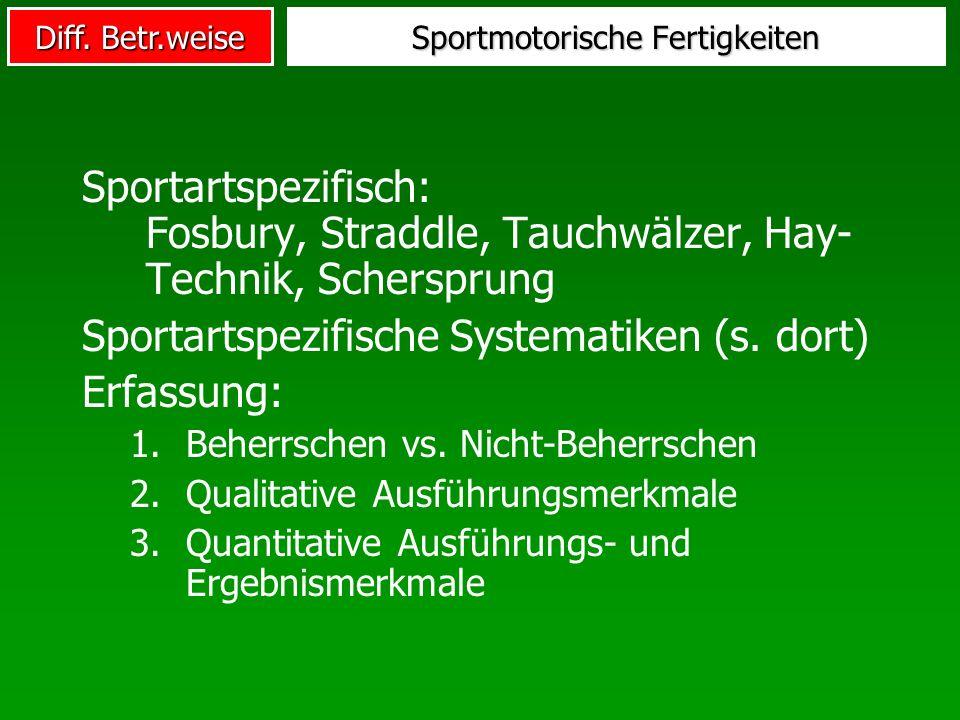 Diff. Betr.weise Sportmotorische Fertigkeiten Sportartspezifisch: Fosbury, Straddle, Tauchwälzer, Hay- Technik, Schersprung Sportartspezifische System