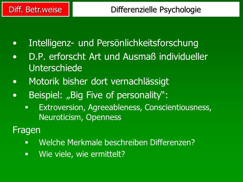 Diff. Betr.weise Differenzielle Psychologie Intelligenz- und Persönlichkeitsforschung D.P. erforscht Art und Ausmaß individueller Unterschiede Motorik