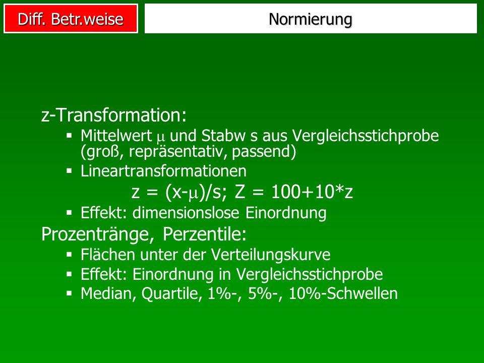 Diff. Betr.weise Normierung z-Transformation: Mittelwert und Stabw s aus Vergleichsstichprobe (groß, repräsentativ, passend) Lineartransformationen z