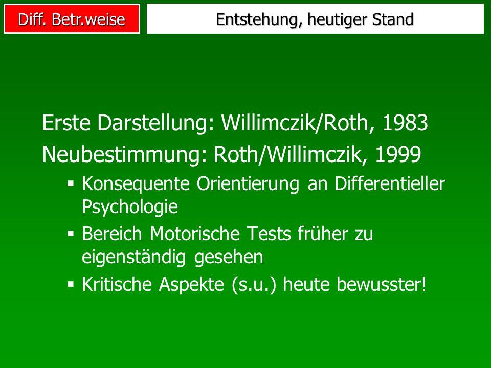 Diff. Betr.weise Entstehung, heutiger Stand Erste Darstellung: Willimczik/Roth, 1983 Neubestimmung: Roth/Willimczik, 1999 Konsequente Orientierung an