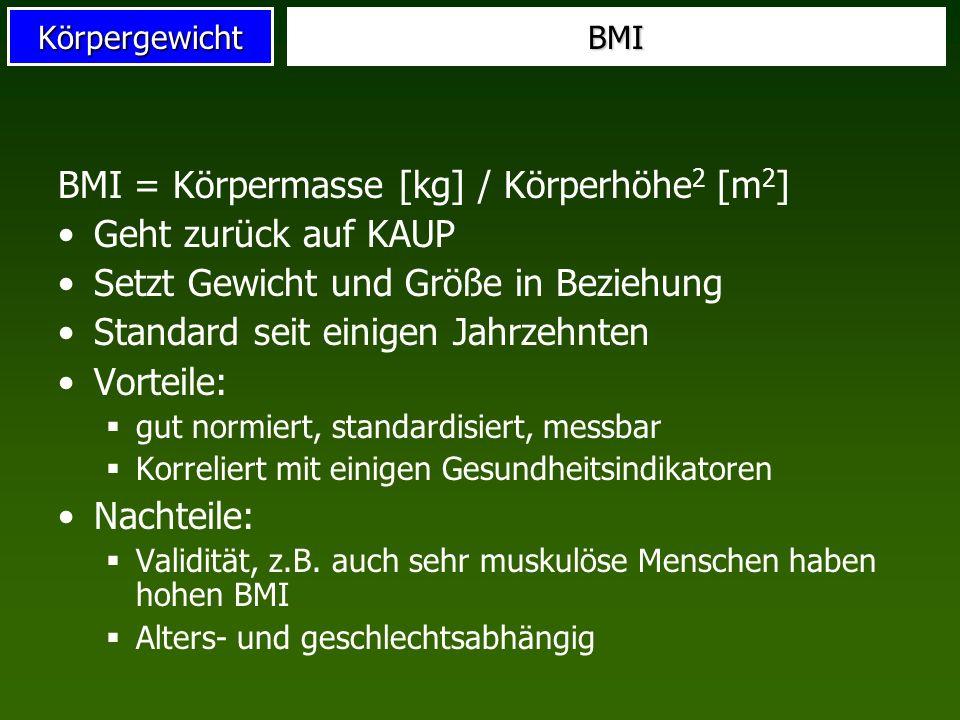 KörpergewichtBMI BMI = Körpermasse [kg] / Körperhöhe 2 [m 2 ] Geht zurück auf KAUP Setzt Gewicht und Größe in Beziehung Standard seit einigen Jahrzehn